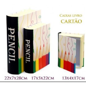 Conjunto 3 Caixas Livro Decorativas Ref.20634 Lápis Branco