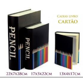 Conjunto 3 Caixas Livro Decorativas Ref.20635 Lápis Preto