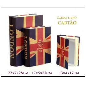 Conjunto 3 Caixas Livro Decorativas Ref. 18442 Londres Keep calm
