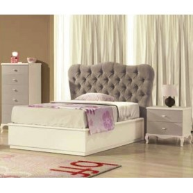 Quarto Ariel Juvenil cama e Mesa cabeceira branco e cinza