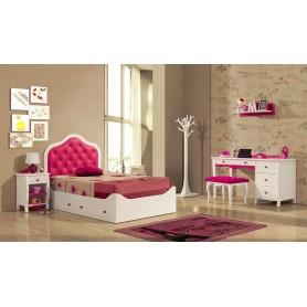 Quarto JOANA juvenil Lacado branco e rosa