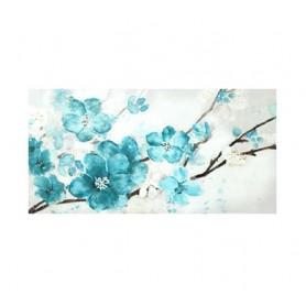 TELA PINTADA Á MÃO 60x120CM  Ref. 3556 Flores Azuis