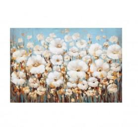 TELA PINTADA Á MÃO 60x120CM EOPH983 R.3562 Flores Brancas