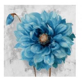 TELA PINTADA Á MÃO 80x80CM R. 3565 Flor Azul c/botão