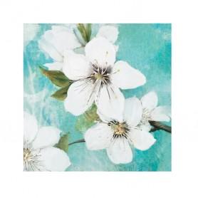 TELA PINTADA Á MÃO 60x60CM R. 3573 Flores Brancas Fundo Azul