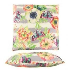 Almofada Decorativa Flores e borboletas 45*45 ref. 3828