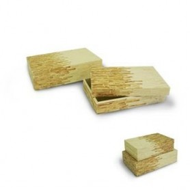 Conj de 2 Caixas Bamboo Bege e Dourado Ref. 4975