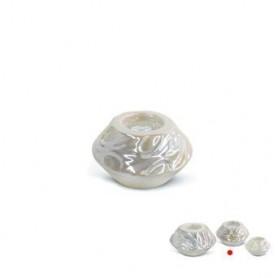 Castiçal Dec Cerâmica Pérola 10x10x6cm Ref 5620