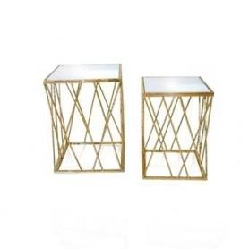 Mesas Douradas Conj. 2 quadradas ref 6300