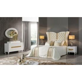 Quarto Casal FLORIDA Lacado Branco e ouro