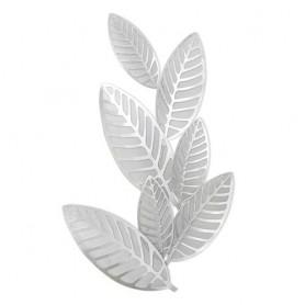 Decoração Metal de Parede 83x50x4cm ref7506 folhas prata