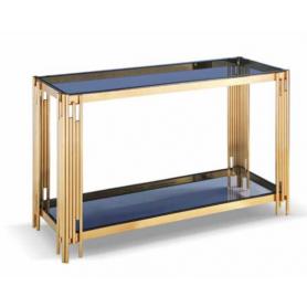 Consola Dourada Tampo vidro Cinza