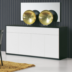Sideboard Olimpo 4 doors + 2 drawers Black/White