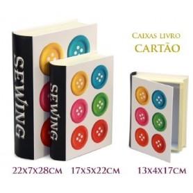 Conjunto 3 Caixas Livro Decorativas Ref.20630 Costura Botões