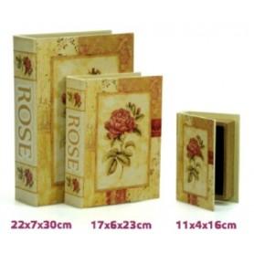 Conjunto 3 caixas Livro de madeira Ref 18132 Rose