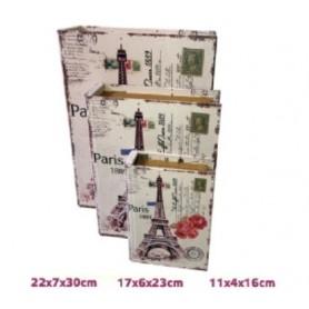 Conjunto 3 Caixas Livro de Madeira Ref.19473 Paris