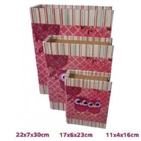 Conjunto 3 caixas Livro de madeira Ref 19474 Mocho Rosa