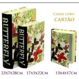 Conjunto 3 Caixas Livro Decorativas Ref. 20619 Borboletas
