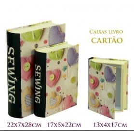 Conjunto 3 Caixas Livro Decorativas Ref.20632 Costura Almofa