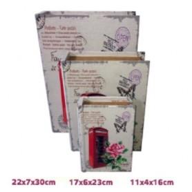 Conjunto 3 caixas Livro de Madeira Ref.19471 Cabine Telefone