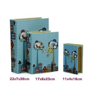 Conjunto 3 Caixas Livro  Decorativas Ref 18138 Mochos azul