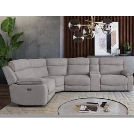 Sofá Canto 50180 com 2 relax elétricos (1+CA+2)C.15875 Stone Com suporte copos e iluminação