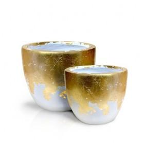 Vaso de resina branco e ouro conjunto de 2  ref 8382