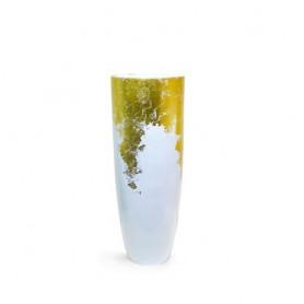 Vaso de resina Branco e ouro pequeno   ref 8383