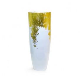Vaso resina branco e ouro grande  100CM  ref 8384