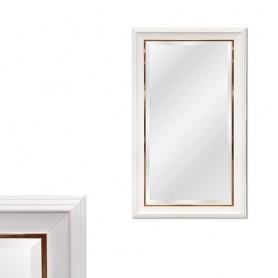 Espelho com moldura Branca e Dourada Ref 8277 143x88CM P6157