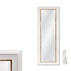 Espelho Pé Com Moldura Branca e Dourada Ref 8278 173x73cm