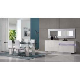 Sala de Jantar Cosmos Lacado Branco e prata