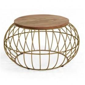 Mesa de centro apoio 87590109 metálica e madeira Redonda V