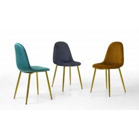 Cadeira Tecido Velvet 854J933G Pé Dourado
