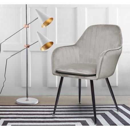 Cadeira Nancy veludo com pés metálicos pretos