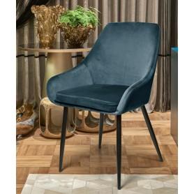 Cadeira Vichy veludo com pés metálicos pretos
