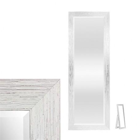 Espelho de pé com moldura prata e branco 57x162 cm ref 8870