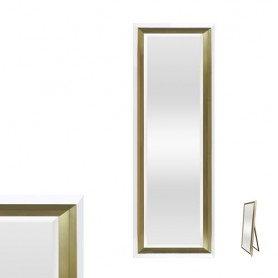 Espelho de Pé com moldura branco e dourado 57x162cm ref 8874