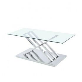Mesa de centro cromada tampo vidro ref 8896 - 120x60x45