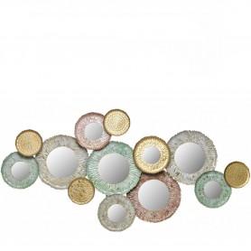 Decoração Metal de parede ref 97077 dourado, cinza, verde