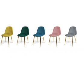 Cadeira Lux veludo com pés metálicos dourados