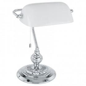 Candeeiro de mesa Banker  Ref.: 90968 cromo e branco