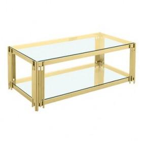 Mesa de Centro Dourada e vidro 120x60x45cm CS-12G 9097