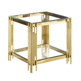Mesa de Apoio dourada e vidro 55x55x55CM CS-12G-1 9098.