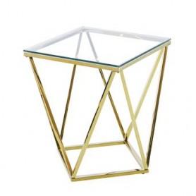 Mesa de Apoio Dourada e Vidro50x50x55CM ref 9102