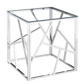 Mesa Apoio CS-05-01 Metal prata e vidro 55x55x55 Ref. 9109
