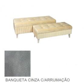 Banqueta Cinza com arrumação Grande ref 9031