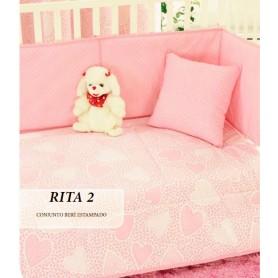 Conj Edredon Bebe Rita 2 Rosa 110*150 + resguardo+almofada