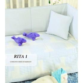 Conj Edredon Bebe Rita 1 Azul 110*150 + resguardo+almofada