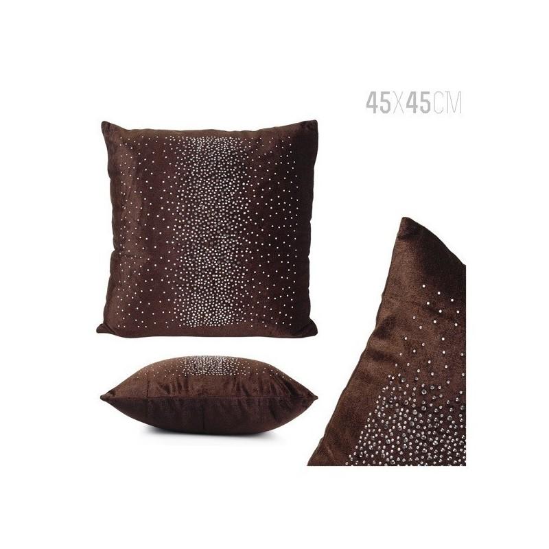 Almofada decorativa aveludada com aplicações ref 1243